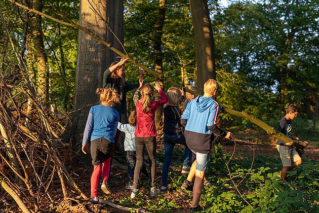 Kinder bauen eine Hütte aus Ästen und Zweigen